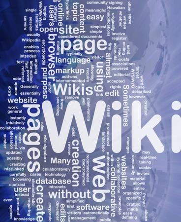 Background concept wordcloud illustration of wiki international Stock Illustration - 10012152