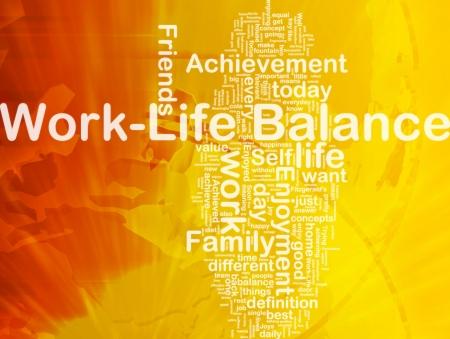 Achtergrond concept wordcloud illustratie van work-life balance internationale