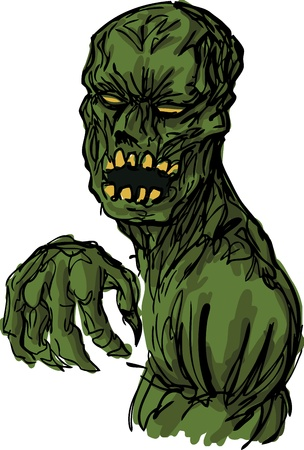 clawing: Scary undead animated zombie corpse monster, hand-drawn illustration