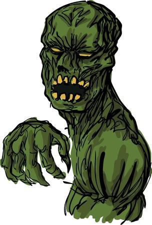 clawing: Spaventoso non morti animati cadavere mostro zombie, disegnati a mano illustrazione