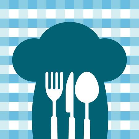 couteau fourchette cuill�re: Toque avec un couteau, fourchette, cuill�re, illustration manger la cuisine Banque d'images