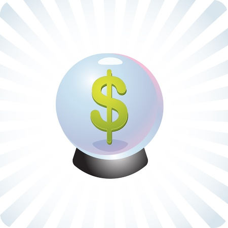 psychic: Financial Fortune telling crystal glass ball future forecasting prediction illustration Stock Photo