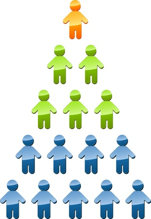 jerarquia: Gente de estructura de gestión de organización de jerarquía piramidal ilustración Foto de archivo