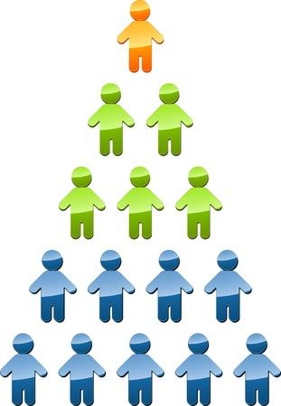 piramide humana: Gente de estructura de gesti�n de organizaci�n de jerarqu�a piramidal ilustraci�n Foto de archivo