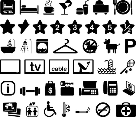 hotel rooms: Hotel features and services icon set black and white illustration