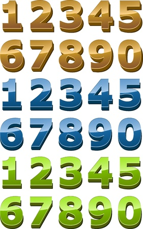 numeral: Numbers icon set, 3d glossy smooth style, gold, green, blue illustration Stock Photo