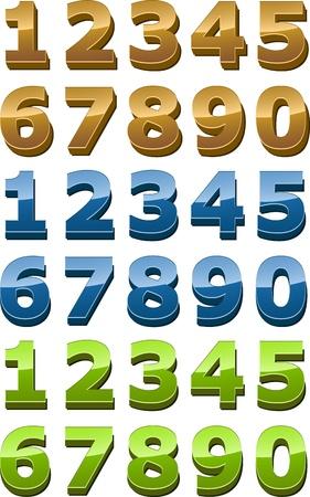 Nummers icon set, 3D glanzend glad stijl, goud, groen, blauw illustratie