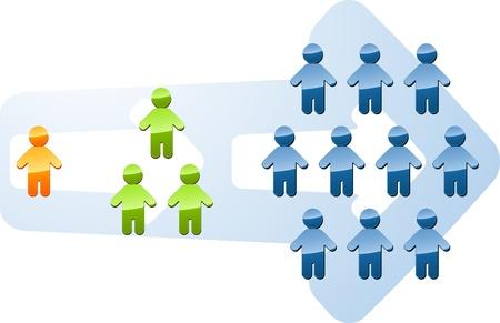 verhogen: Recruitment mensen multilevel expansie toename van de groei illustratie Stockfoto