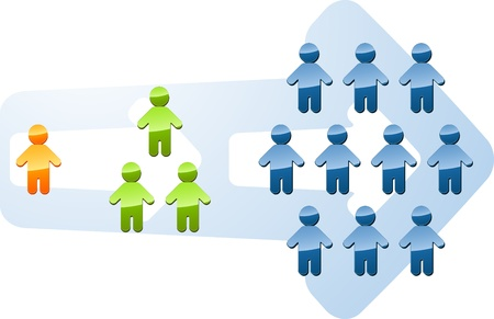 expanding: Recruitment people multilevel expansion growth increase illustration Stock Photo