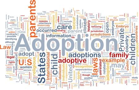 Achtergrond concept wordcloud illustratie van adoptie Stockfoto