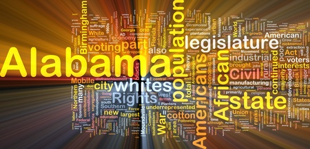 voting rights: Background concept wordcloud illustration of Alabama American state glowing light