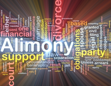 divorce court: Background concept wordcloud illustration of alimony glowing light Stock Photo
