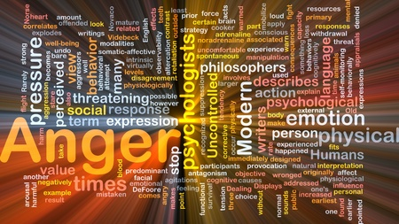 Background concept wordcloud illustration of anger glowing light
