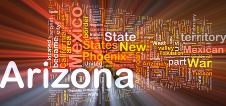 new world order: Background concept wordcloud illustration of Arizona American state glowing light