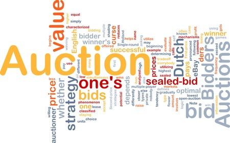 auction win: Background concept illustration of Auction bid sale Stock Photo