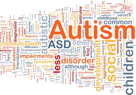 Background concept wordcloud illustration of autism Stock Photo