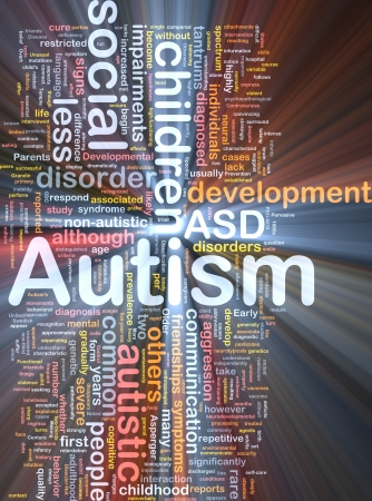 Background concept wordcloud illustration of autism glowing light 스톡 콘텐츠