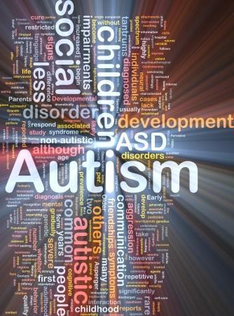 Background concept wordcloud illustration of autism glowing light Standard-Bild