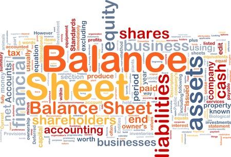 Hintergrund Konzept wordcloud Darstellung der Bilanz Lizenzfreie Bilder