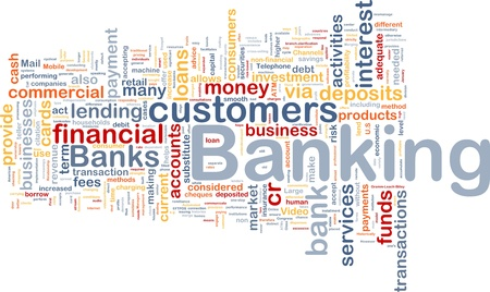 Background concept wordcloud illustration of banking Foto de archivo
