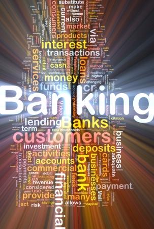 Background concept wordcloud illustration of banking glowing light Foto de archivo