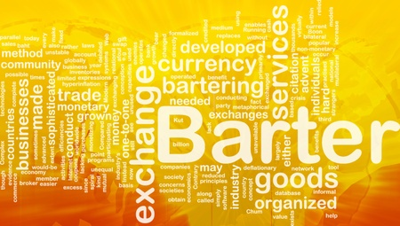 Background concept wordcloud illustration of barter international illustration