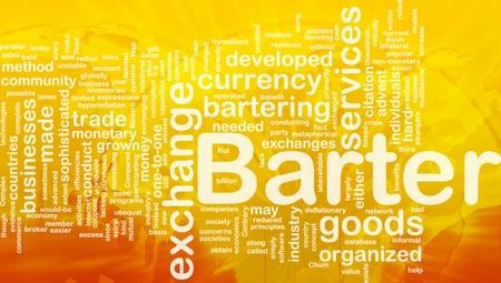 Background concept wordcloud illustration of barter international