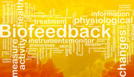Achtergrond concept wordcloud illustratie van biofeedback internationale Stockfoto