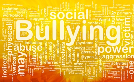 Background concept wordcloud illustration of bullying international Stock Photo