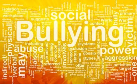 Background concept wordcloud illustration of bullying international Foto de archivo
