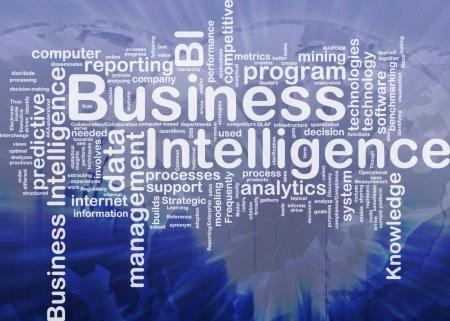 Háttér fogalma wordcloud illusztrálja az üzleti intelligencia nemzetközi