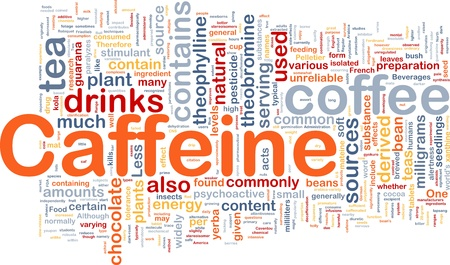 Background concept wordcloud illustration of caffeine illustration