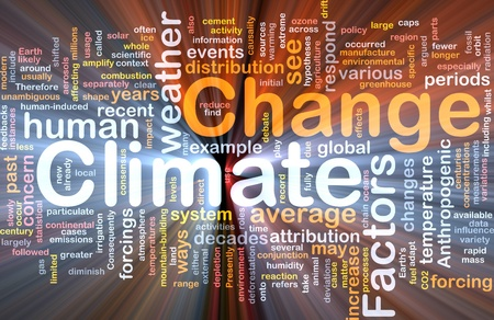 Achtergrond concept wordcloud illustratie van de wereldwijde klimaatverandering gloeiende licht