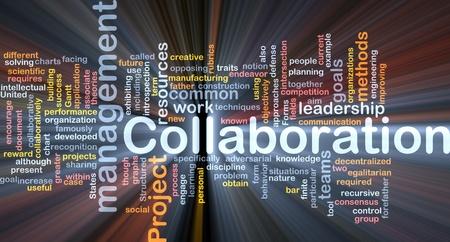 Hintergrund Konzept Wordcloud Collaboration Management Zusammenarbeit glühenden Licht