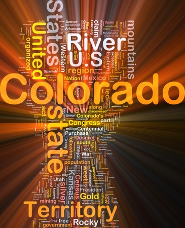 colorado mountains: Background concept wordcloud illustration of Colorado American state glowing light