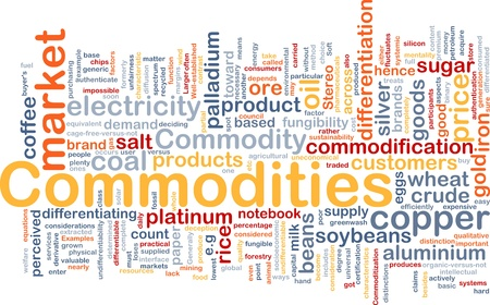 commodities: Wordcloud concepto de fondo la ilustración de los productos básicos