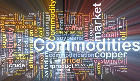 commodities: Ilustraci�n de wordcloud concepto de fondo de los productos b�sicos brillante luz Foto de archivo