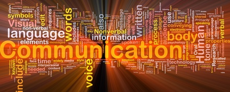 Background concept wordcloud illustration of communication glowing light
