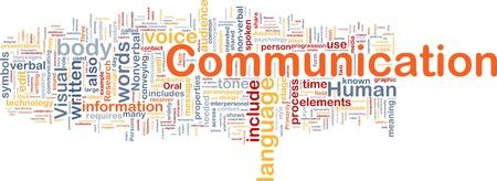 comunicación escrita: Ilustración de wordcloud concepto de fondo de la comunicación Foto de archivo