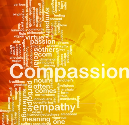 with sympathy: Background concept wordcloud illustration of compassion international