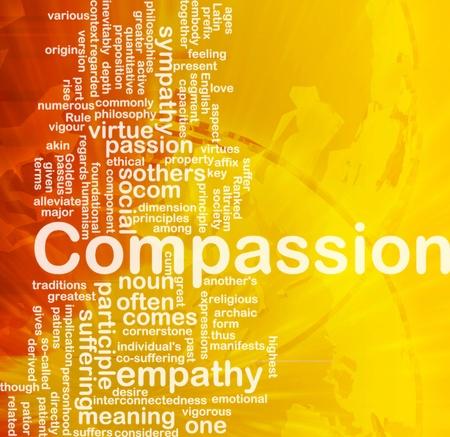 empatia: Wordcloud concepto de fondo de la ilustraci�n de la compasi�n internacional Foto de archivo