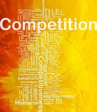 competitividad: Ilustración de wordcloud concepto de fondo de la competencia internacional