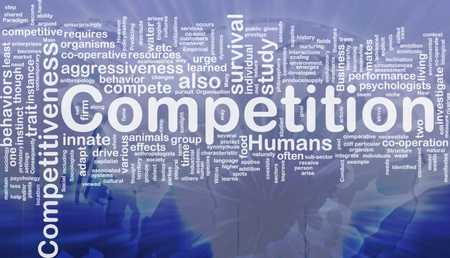 arises: Background concept wordcloud illustration of competition international