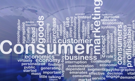 Background concept wordcloud illustration of consumer international Stock Photo