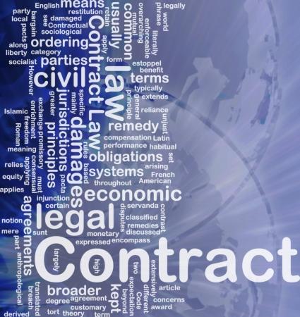 Achtergrond concept wordcloud illustratie van het contract internationale Stockfoto