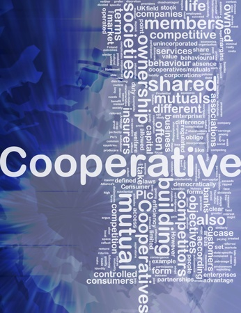 Achtergrond concept wordcloud illustratie van internationale coöperatie Stockfoto