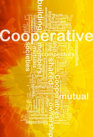 shared: Background concept wordcloud illustration of cooperative international