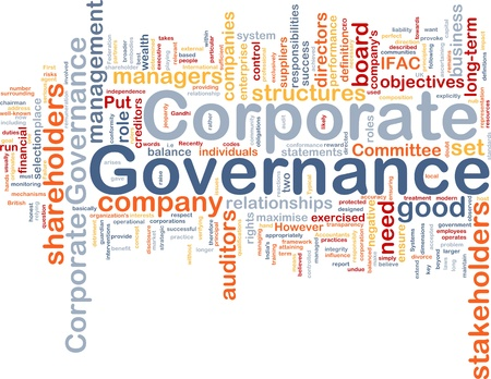corporate governance: Background concept wordcloud illustration of corporate governance Stock Photo