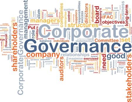 gobierno corporativo: Ilustración de wordcloud concepto de fondo de control corporativo
