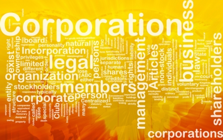 corporation: Background concept wordcloud illustration of corporation international Stock Photo